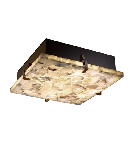 Justice Design ALR-5555-DBRZ Alabaster Rocks 2 Light 13 inch Dark Bronze Flush-Mount Ceiling Light photo