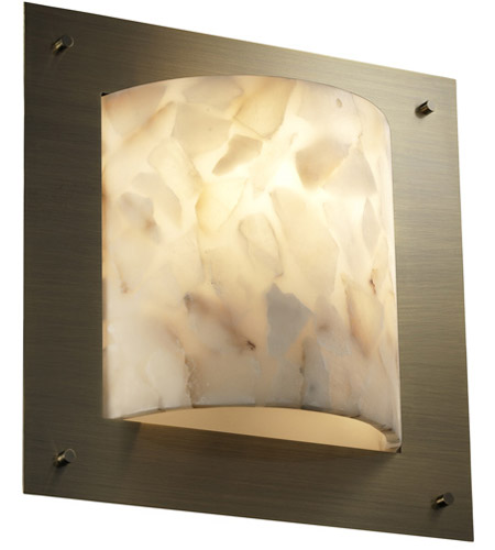 Justice Design Alabaster Rocks Framed Square 4-Sided Wall Sconce (Ada) in Antique Brass ALR-5561-ABRS photo