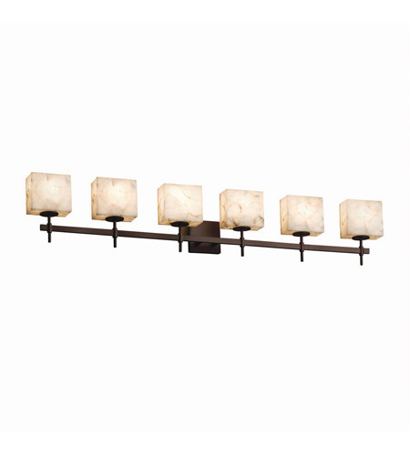 Justice Design ALR-8416-30-CROM Alabaster Rocks 6 Light 52 inch Polished Chrome Bath Bar Wall Light in Oval, Incandescent photo thumbnail
