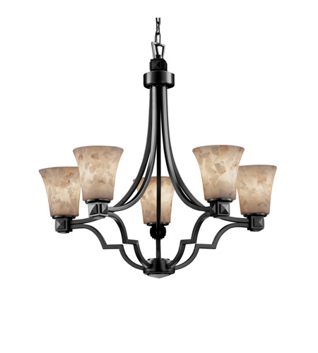 Justice Design Alabaster Rocks Argyle 5-Light Chandelier in Matte Black ALR-8500-20-MBLK photo