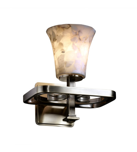 Justice Design Alabaster Rocks Arcadia 1-Light Wall Sconce in Antique Brass ALR-8561-20-ABRS photo