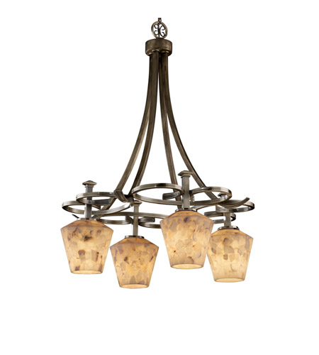 Justice Design Alabaster Rocks Arcadia 4-Downlight Chandelier in Antique Brass ALR-8565-22-ABRS photo