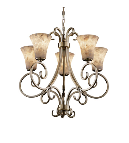 Justice Design ALR-8570-20-ABRS Alabaster Rocks 5 Light Antique Brass Chandelier Ceiling Light in Fluorescent, Round Flared photo