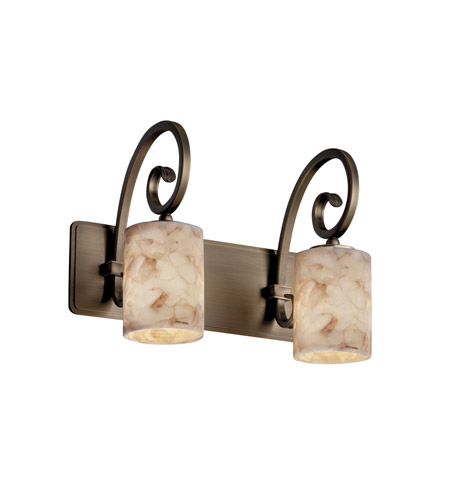 Justice Design ALR-8572-10-ABRS Alabaster Rocks 2 Light 15 inch Antique Brass Bath Bar Wall Light in Fluorescent, Cylinder with Flat Rim photo