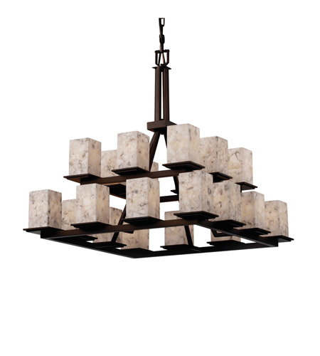 Justice Design ALR-8667-15-DBRZ Alabaster Rocks 20 Light 34 inch Dark Bronze Chandelier Ceiling Light photo
