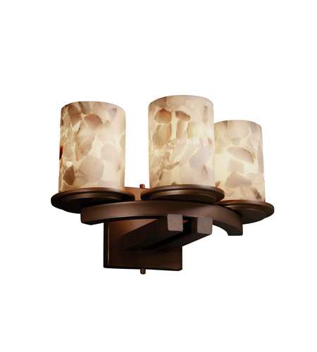 Justice Design Alabaster Rocks Dakota 3-Light Curved-Bar Wall Sconce in Dark Bronze ALR-8776-10-DBRZ photo