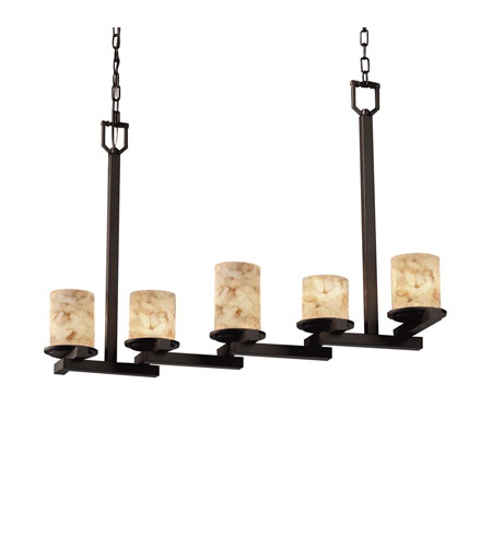 Justice Design ALR-8787-10-DBRZ Alabaster Rocks 5 Light 7 inch Dark Bronze Chandelier Ceiling Light photo