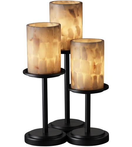 Justice Design ALR-8797-10-MBLK Alabaster Rocks 16 inch 60 watt Matte Black Table Lamp Portable Light photo