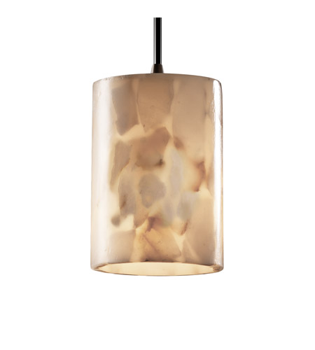 Justice Design ALR-8815-10-DBRZ Alabaster Rocks 1 Light 4 inch Dark Bronze Pendant Ceiling Light in Cylinder with Flat Rim, Cord photo