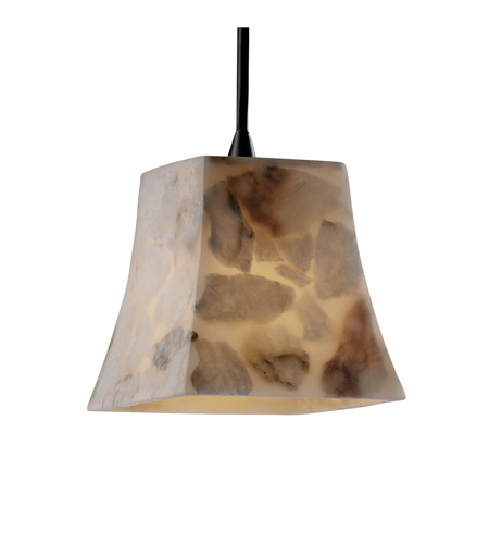 Justice Design ALR-8815-40-CROM Alabaster Rocks 1 Light 6 inch Polished Chrome Pendant Ceiling Light in Square Flared, Cord photo