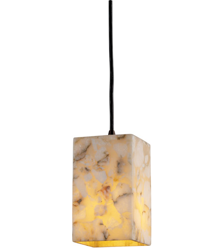 Justice Design ALR-8816-15-DBRZ Alabaster Rocks 1 Light 4 inch Dark Bronze Pendant Ceiling Light in Square with Flat Rim, Cord photo