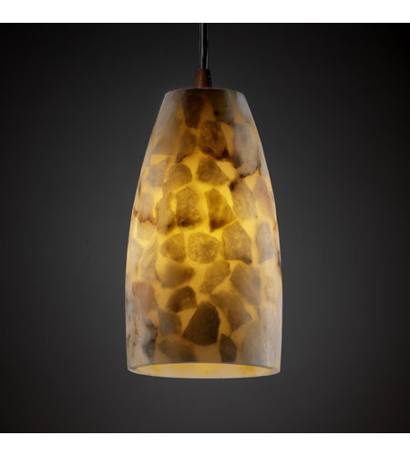 Justice Design ALR-8816-28-DBRZ Alabaster Rocks 1 Light 4 inch Dark Bronze Pendant Ceiling Light in Tall Tapered Cylinder, Cord photo