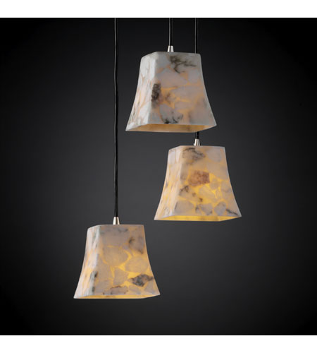 Justice Design ALR-8818-40-NCKL Alabaster Rocks 3 Light Brushed Nickel Pendant Ceiling Light in Square Flared photo