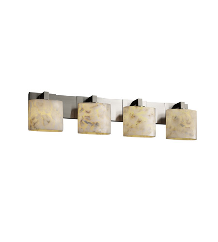 Justice Design ALR-8924-30-NCKL Alabaster Rocks 4 Light 35 inch Brushed Nickel Bath Bar Wall Light in Fluorescent, Oval photo