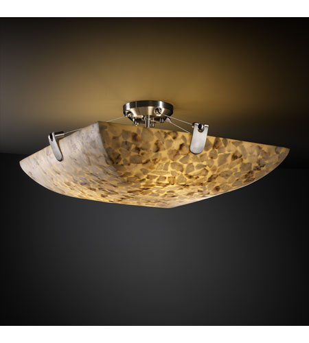 Justice Design ALR-9614-25-NCKL Alabaster Rocks 8 Light 39 inch Brushed Nickel Semi-Flush Bowl Ceiling Light in Square Bowl photo