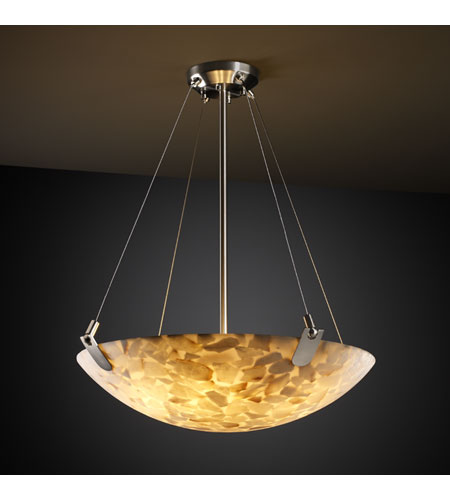 Justice Design ALR-9627-35-NCKL Alabaster Rocks 8 Light 51 inch Brushed Nickel Pendant Bowl Ceiling Light in Round Bowl photo