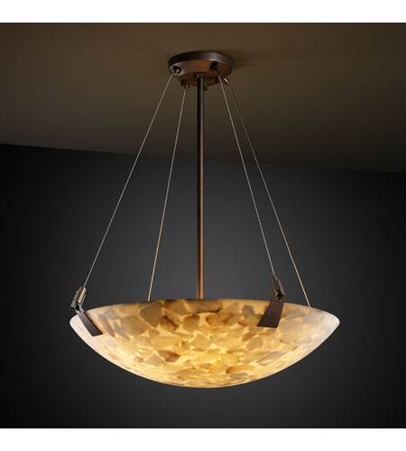 Justice Design ALR-9641-35-DBRZ Alabaster Rocks 3 Light Dark Bronze Pendant Bowl Ceiling Light in Round Bowl photo