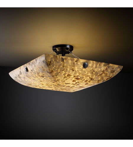 Justice Design ALR-9651-25-MBLK-F6 Alabaster Rocks 3 Light 21 inch Matte Black Semi-Flush Bowl Ceiling Light in Square Bowl, Concentric Circles photo