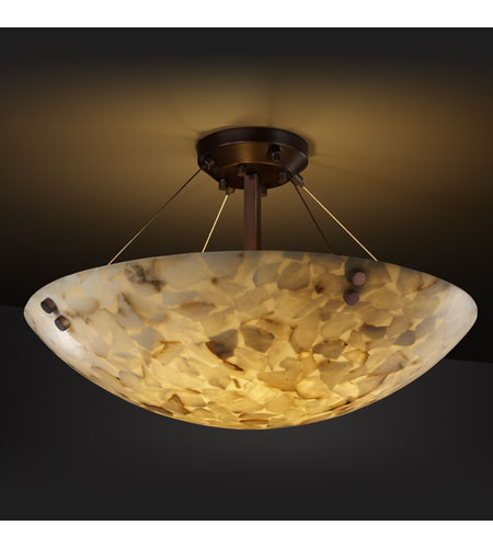 Justice Design ALR-9654-35-DBRZ-F1 Alabaster Rocks 8 Light Dark Bronze Semi-Flush Bowl Ceiling Light in Round Bowl, Pair of Cylinders photo