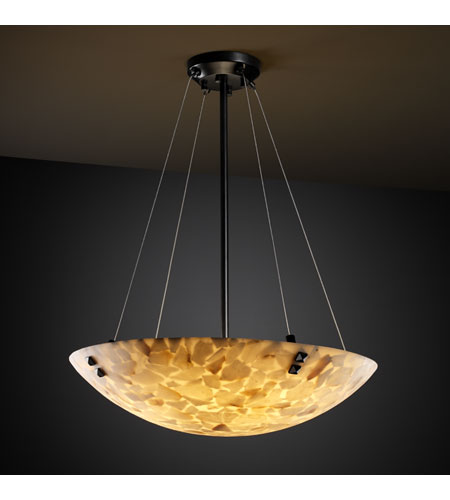 Justice Design ALR-9661-35-MBLK-F3 Alabaster Rocks 3 Light Matte Black Pendant Bowl Ceiling Light in Round Bowl, Pair of Square with Points photo