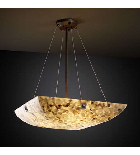 Justice Design ALR-9664-25-DBRZ-F4 Alabaster Rocks 8 Light 39 inch Dark Bronze Pendant Bowl Ceiling Light in Square Bowl, Large Square with Point photo