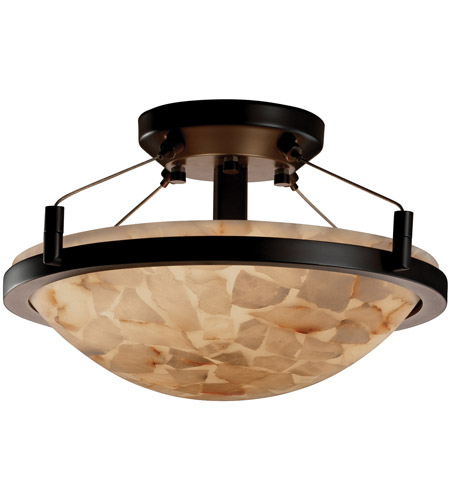 Justice Design ALR-9680-35-DBRZ Alabaster Rocks 2 Light Dark Bronze Semi-Flush Bowl Ceiling Light photo