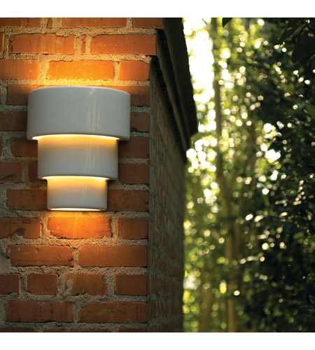 Justice Design CER-2235W-CKC-LED1-1000 Ambiance Terrace LED 14 inch Celadon Green Crackle Outdoor Wall Sconce in 1000 Lm LED, Large CER-2235W-WHT_INSTAL.jpg