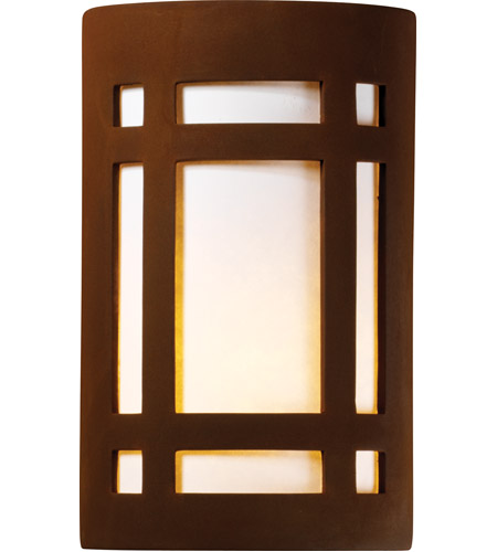 Justice Design CER-5490W-RRST-PL1-LED-9W Ambiance LED 8 inch Real Rust ADA Wall Sconce Wall Light photo