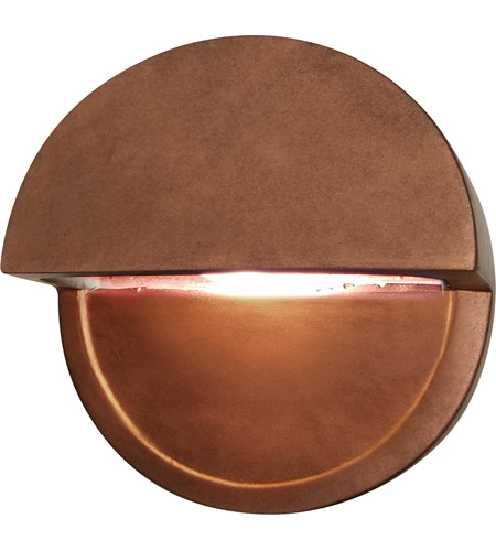 Justice Design CER-5610-HBVN Ambiance LED Hammered Brass with Vanilla Gloss ADA Wall Sconce Wall Light in Hammered Brass and Vanilla Gloss, Closed Top Fixture, Dome photo