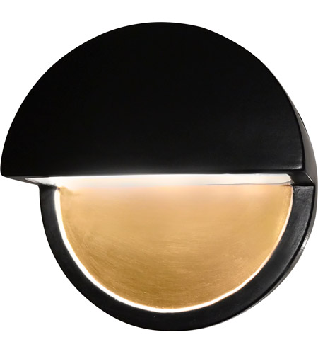 Justice Design CER-5610W-CBGD Ambiance LED Carbon Matte Black with Champagne Gold ADA Wall Sconce Wall Light in Carbon-Matte Black and Champagne Gold, Closed Top Fixture, Dome photo