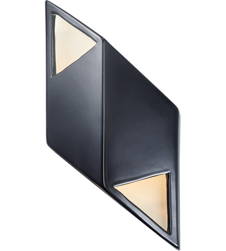 Justice Design CER-5835-BKMT Ambiance LED 6 inch Gloss Black with Matte White ADA Wall Sconce Wall Light in Gloss Black and Matte White, Rhomboid photo
