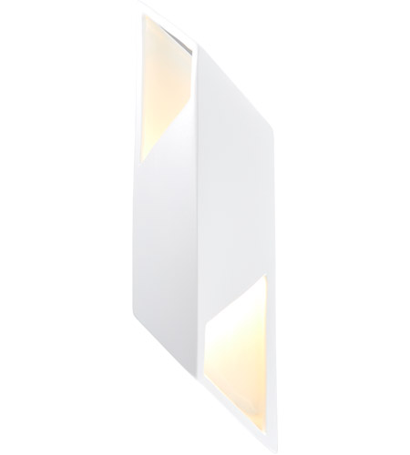 Justice Design CER-5845-WTWT Ambiance LED 6 inch Gloss White ADA Wall Sconce Wall Light in Gloss White and Gloss White, Rhomboid photo