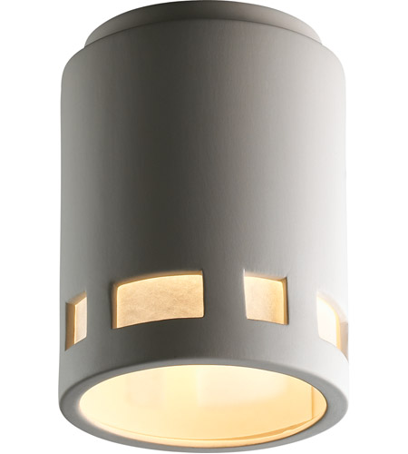 Justice Design CER-6107W-BIS Radiance 1 Light 7 inch Bisque Outdoor Flush-Mount in Incandescent