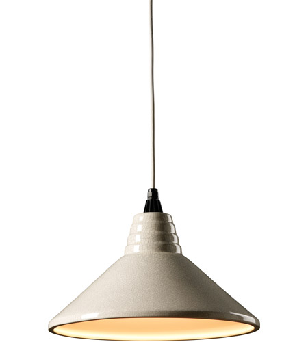 Justice Design CER-6200-CRK-WTCD Radiance 1 Light 15 inch White Crackle Pendant Ceiling Light in White Cord