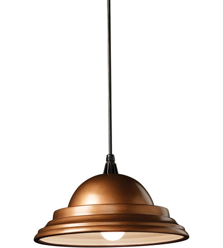 Justice Design CER-6205-ANTC-BKCD Radiance 1 Light 14 inch Antique Copper Pendant Ceiling Light in Black Cord