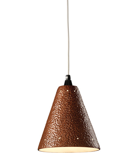 Justice Design Group Radiance Cone w/ Perfs Pendant Pendant in Hammered Copper CER-6225-HMCP