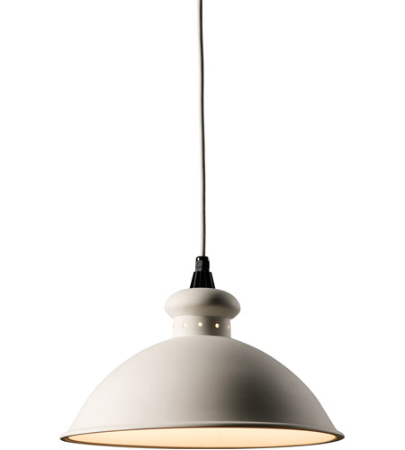 Justice Design CER-6300-BIS-WTCD Radiance 1 Light 15 inch Bisque Pendant Ceiling Light in White Cord