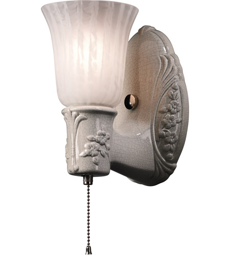 Justice Design CER-7121-WHT-GWST-NCKL American Classics Heirloom Oval 1 Light 5 inch Brushed Nickel with Gloss White Wall Sconce Wall Light