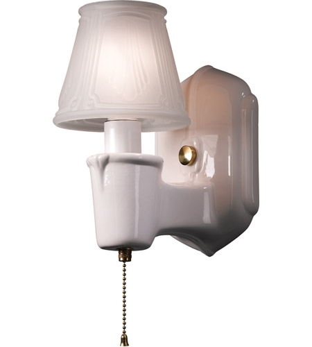 Justice Design CER-7150-MAT-BRSS American Classics Chateau 1 Light 5 inch Polished Brass with Matte White Single Arm Wall Sconce Wall Light