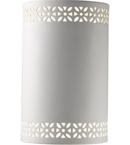 Justice Design Group Ambiance Small Cylinder w/ Floral Band Wall Sconce in Bisque CER-7805-BIS photo