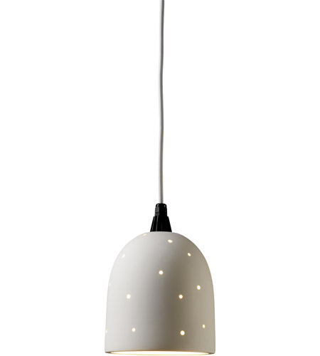 Justice Design CER-9610-STOS-SHOL-BKCD Sun Dagger Bell 1 Light 7 inch Slate Marble Pendant Ceiling Light in Black Cord, Scattered Holes, Small