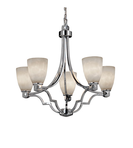 Justice Design CLD-8500-18-CROM Clouds 5 Light Polished Chrome Chandelier Ceiling Light in Tapered Cylinder, Fluorescent photo