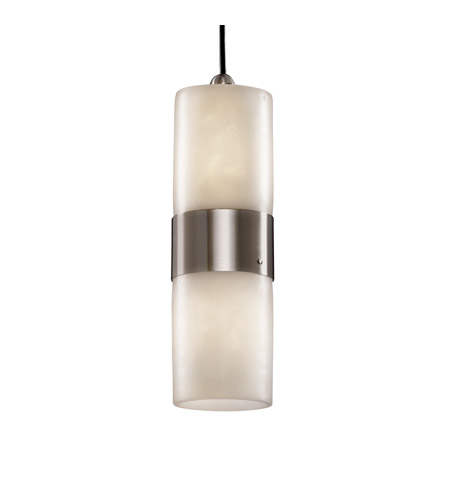 Justice Design CLD-8758-10-NCKL Clouds 2 Light Brushed Nickel Pendant Ceiling Light photo
