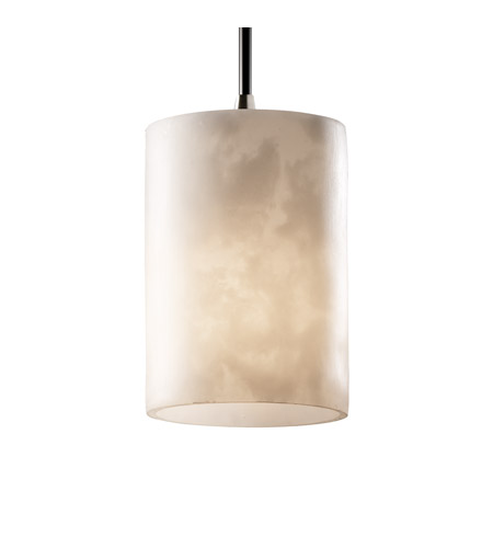 Justice Design CLD-8815-10-NCKL Clouds 1 Light Brushed Nickel Pendant Ceiling Light in Cord, Cylinder with Flat Rim photo