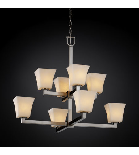 Justice Design Clouds Modular 8-Light 2-Tier Chandelier in Brushed Nickel CLD-8828-40-NCKL photo