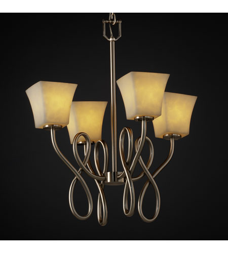 Justice Design Clouds Capellini 4-Light Chandelier in Brushed Nickel CLD-8910-40-NCKL photo