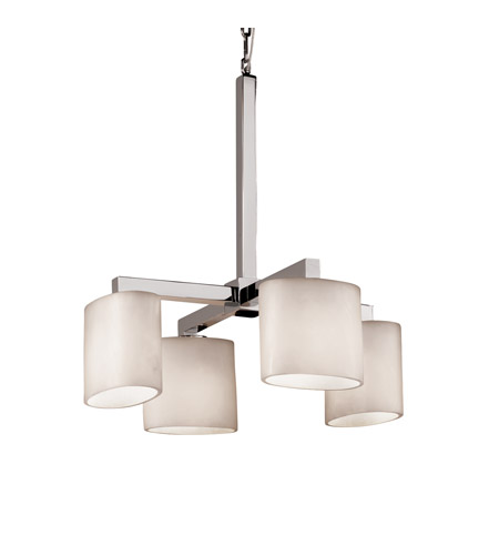 Justice Design CLD-8920-30-CROM Clouds 4 Light Polished Chrome Chandelier Ceiling Light in Oval, Fluorescent photo