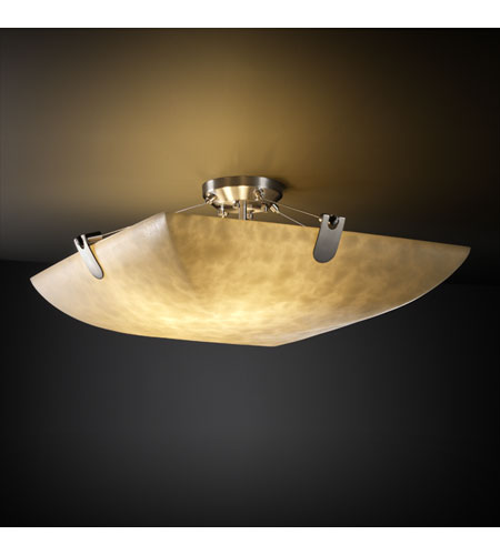 Justice Design CLD-9617-25-NCKL Clouds 8 Light 51 inch Brushed Nickel Semi-Flush Bowl Ceiling Light in Square Bowl photo