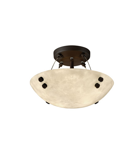 Justice Design CLD-9650-35-DBRZ-F1 Clouds 2 Light 21 inch Dark Bronze Semi-Flush Bowl Ceiling Light in Pair of Cylinders, Round Bowl photo