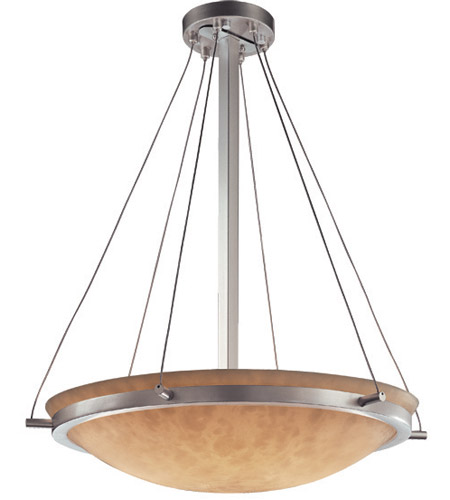 Justice Design CLD-9692-35-NCKL Clouds 6 Light 21 inch Brushed Nickel Pendant Bowl Ceiling Light photo